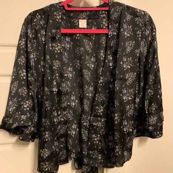 Floral kimono-style blouse